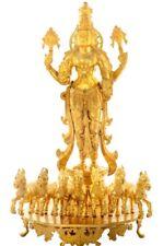 "Large Fine Statue Surya God Sun Riding Horse Jai Figure 27.7"" Bronze Hindu 46 KG"