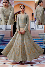GRAY HEAVY DESIGNER ANARKALI SALWAR KAMEEZ SUIT PARTY DRESS MATERIAL LADIES DEN