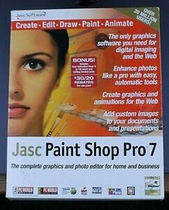 Jasc Paint Shop Pro 7 CD Software in original box 2000