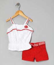 Tank & Polka Dot Shorts Set Nannette Red Lace - Girls  -Size 6 NWT