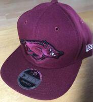 Arkansas Razorbacks New Era Flat Bill 9FIFTY Adjustable Snapback Hat Cap
