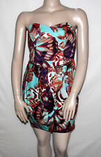 NEW Baby Phat Size 26 Printed Butterfly Strapless Dress MULTI-COLOR