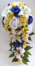 17 piece Wedding Bouquet Silk Flower Bridal YELLOW ROYAL BLUE WHITE LILY package