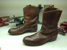 DISTRESSED VINTAGE MADE IN USA RED WING BROWN LEATHER ENGINEER BOSS BOOTS 14 D