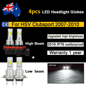 For 2008 2009 Holden HSV Clubsport 4x Headlight Globes High Low beam LED Bulb AU