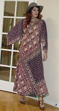 Vtg 70s Boho Hippie INDIA Adini KAISER Print Cotton SCARF Angel Slv Maxi Dress