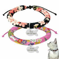 Personalized Soft Floral Pet Puppy Dog Cat Kitten Collar & Tag Set Adjustable S