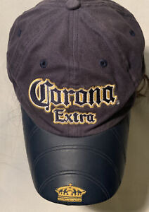 Corona Extra Men's Navy Blue Baseball Cap Embroidered Logo on Rubber Bill RARE