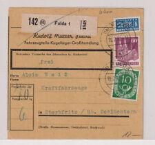 Bizone/Bauten, 93eg, MiF 128, Paketkarte Fulda 19.2.52