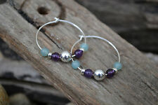 Earrings. Sterling Silver, Amethyst & Amazonite. Handmade