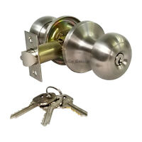 High Quality Door Knob Lock Entry Keyed Cylinder 3 Keys Exterior Interior Kw1 SS