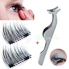 4Pcs 3D pestañas falsas magnéticas ojos naturales de latigazos extensión y pinza