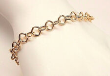 """Authentic ROSATO Women's 7.5"""" 14K Yellow Gold Hollow Link Bracelet Made In ITALY"""