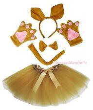 Halloween Party Kid Goldenrod kangaroo Headband Paw Tail Bow Gauze Skirt Costume