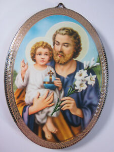 """St Joseph Icon Picture on Wood Oval 5 3/4"""" Made in Italy"""