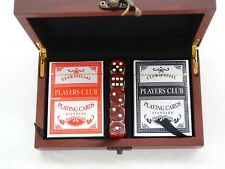 New Latched Wood Storage Box Set of Playing Cards & Dice Display Keepsake Gift