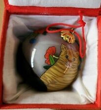 Hand Painted Ornament CATS WITH POTTED FLOWERS Glass Christmas Ball