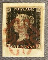 1840 1d Penny Black on Piece Red Maltese Cross