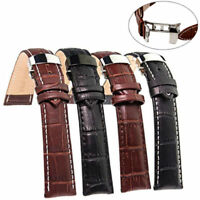 Genuine Leather Stainless Steel Butterfly Clasp Buckle Watch Band Strap 18-22mm