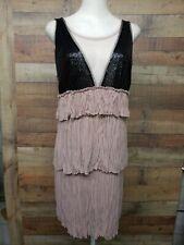 "BCBG MAXAZRIA RXN6P153 ""Averil"" Nude Combo Dress Women's Size: L NWT MSRP-$ 298"