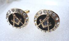 Masonic Mason Cuff-links Freemason Square Compass Crystals Pre-Owned #2