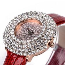 Luxury Womens Big Round Bling Crystal Dial Leather Band Quartz Wrist Watch