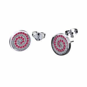 Set Of Press Fit Jewels Pink Swirl Stud Earrings 20g Surgical Steel
