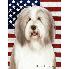 Bearded Collie Fawn and White Patriotic Ii Flag