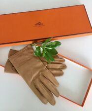Hermes Leather Beige Brown Gloves 7 1/2