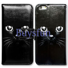 Bcov Black Cat Style Card Slot Wallet Leather Cover Case For iPhone 5 5S Se
