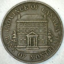 1844 Province of Canada Token Bank Note Half Penny 1/2 Cent Bank of Montreal K11