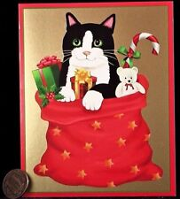 Kitten Cat Bag Presents Teddy Bear Candy Cane -SMALL Christmas Greeting Card NEW