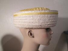 Vintage Yellow & White Woven Straw Hat Ribbon Bow Retro Fashion
