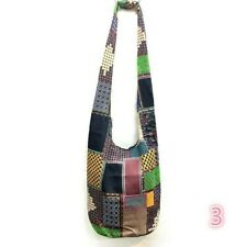 Womens Cross Body Bags Ethnic Spliced Patchwork Boho Stripe Hippie Cotton Retro