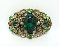 Czech Green Glass Brass Filigree Brooch Ornate Layered Pin Czechoslovakia Vtg