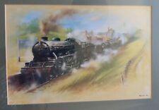 David Weston Black Steam Train at Belgrave & Birstall Station -framed print 1978