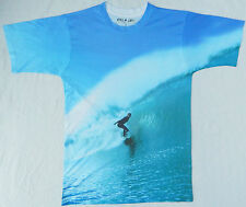 Surfing Cresting Wave Surfer T-Shirt - Small Mens Polyester Blue Photo
