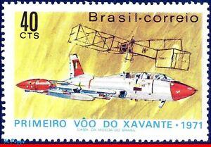 1195 BRAZIL 1971 XAVANTE,1ST FLIGHT, AVIATION, 14 BIS DUMONT'S, MI# 1289, MNH