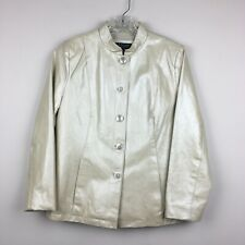 Dialogue Women's Pearlized Pearl Leather Jacket Size Small Button Front Lined