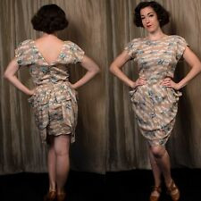Traffic People M Bluebirds Clouds retro 40s dress Peplum Pin Up Rayon Swing
