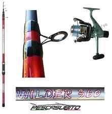kit canna wilder 4m mulinello sword 5000 filo pesca fondo mare lago surf casting