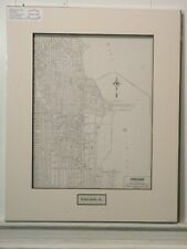 Antique Original Rand McNally Map of Chicago, lift-matted with inset title