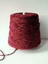 Chenille Yarn 100% Rayon In Garnet Warm Red Crochet Weaving 1000 Ypp #Dr616