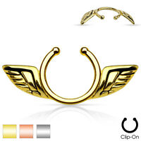 Pair of Gold IP Rose Gold IP Angel Wings Clip On Non Piercing Nipple Rings