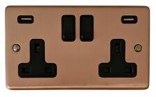 G&H CRG910B Standard Plate Rose Gold 2 Gang Double 13A Switched Plug Socket USB