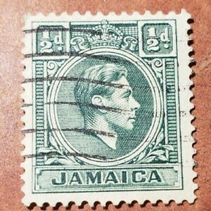 GM127 Jamaica SG121 1/2d Blue-green KGVI Used Stamp