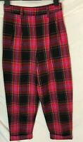 TOPSHOP TROUSERS ~ Size 6 ~ Pink Black ~ Tartan Plaid ~ High waist ~ Crop Leg ~L
