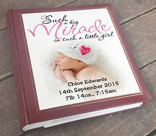 "Large personalised photo album 6x4"" x 200 photos, newborn baby girl present"