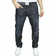 Smith & Jones Mens Branded Classic Regular Fit Straight Leg Belted Jeans Darkwash 36w 32l