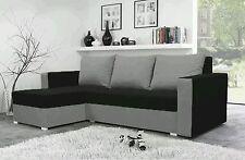 corner sofa bed black Grey  fabric sleeping option living room storage